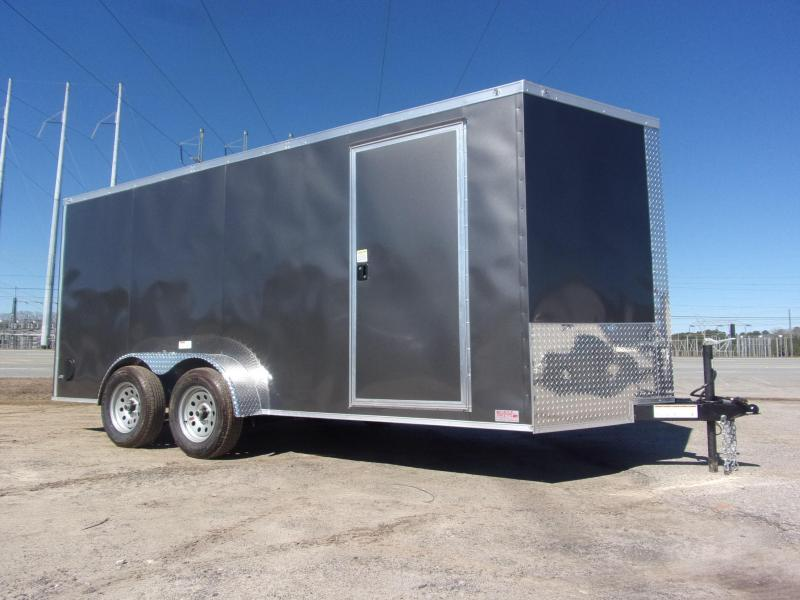 Trailer 7x16 6 3 Charcoal W Ramp Door Enclosed Cargo screwlessTrailer