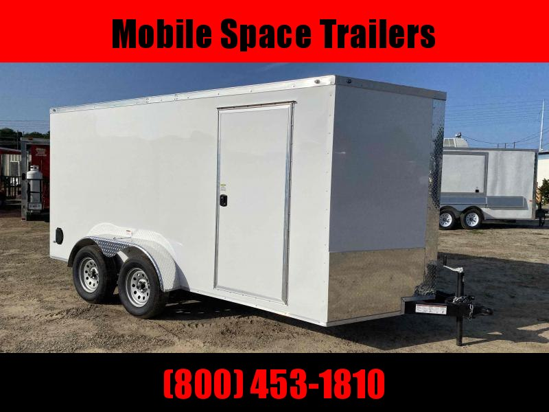 "Trailer 7x14 6'3"" White W/ Ramp Door Enclosed Cargo screwlessTrailer"