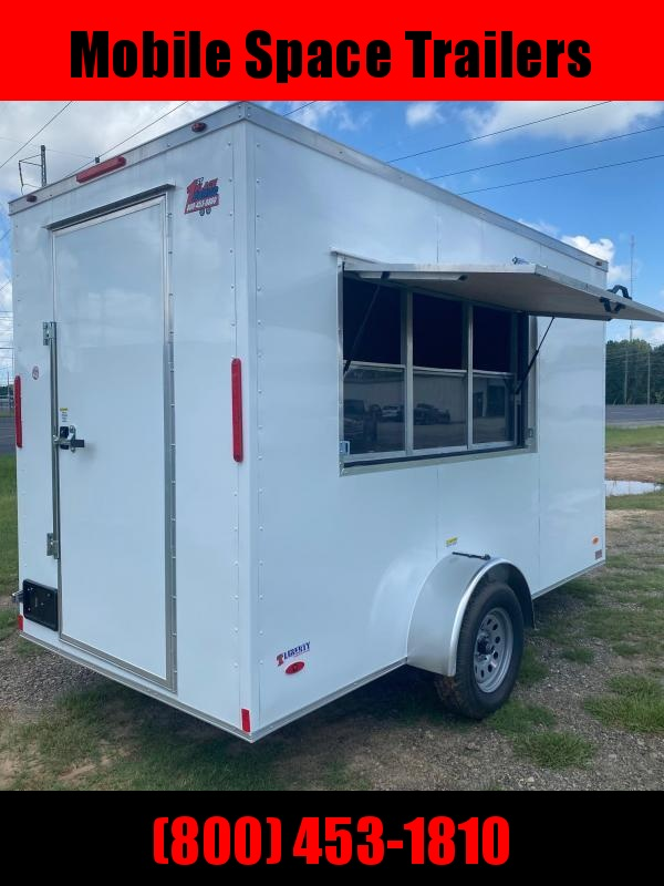 """Covered Wagon Trailers 6x12 7'6"""" 3x6 Window W/ Glass & Screen White Vending Enclosed Cargo Concesion"""