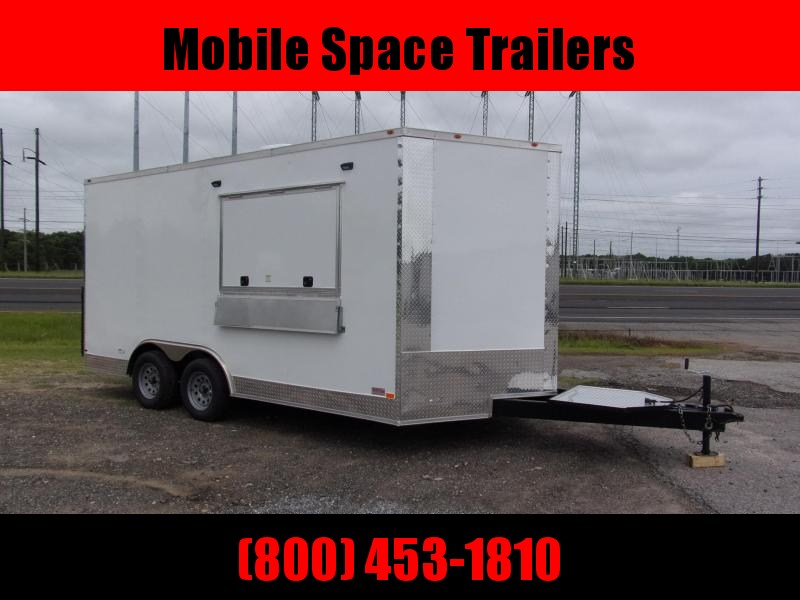 8.5x16 enclosed cargo 3x6 glass and sceen 3 Bay Sink Concession Vending Concession Trailer
