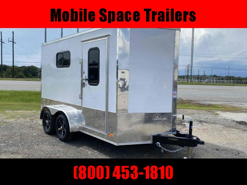 Covered Wagon Trailer 7x12 White Motorcycle PKG w/ Windows Enclosed Cargo Trailer