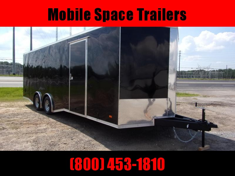 Covered Wagon Trailers 8.5x24  7' Black Spread axles ramp door Enclosed Cargo