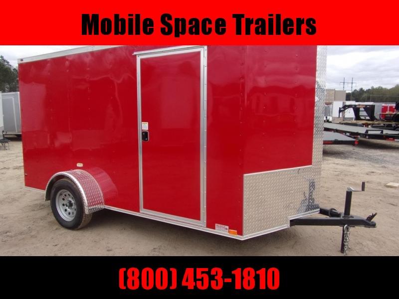 6x12 Ramp Door Red Enclosed Cargo Trailer