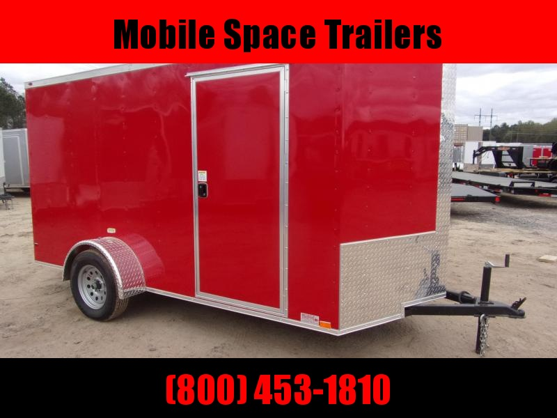 6x12 Ramp Door Red Enclosed Cargo Trailer