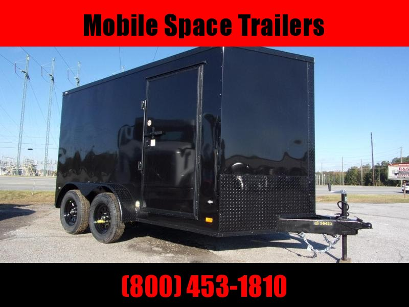 2020 Covered Wagon Trailers 7X12 030 Chart coal Blackout Tadem Axle SemiScrewless Enclosed Cargo Trailer