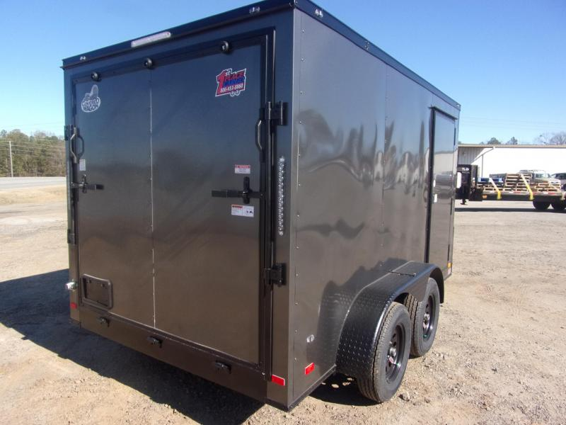 Covered Wagon Trailers 7X12 030 Char coal Blackout Tadem Axle SemiScrewless Enclosed Cargo Trailer