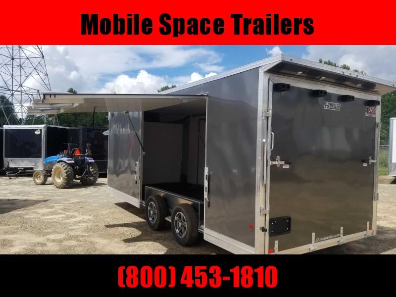 Mission 8.5x20 car hauler trailer spread axle ramp door Elite Ecsape door