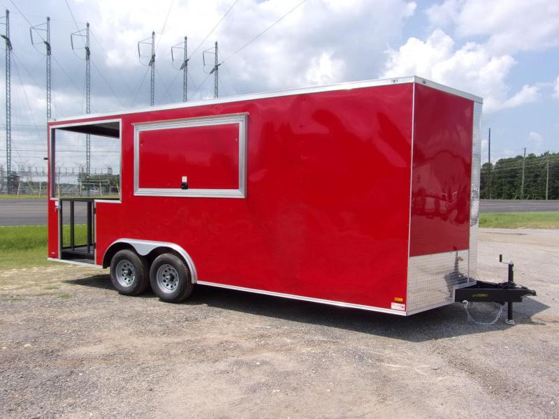 8.5X20 Red 7' Interior Height w/ 6' Porch Vending / Concession Trailer