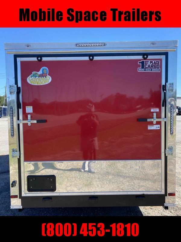7X14 red cargo enclosed with 3x8 Vending window Concession Trailer