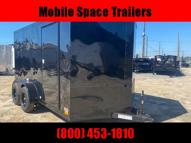 7X12 030 Black Blackout Tadem Axle Screwless Enclosed Cargo Trailer