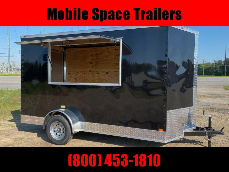 6x12 3x6 Window Black Enclosed Cargo Concesion