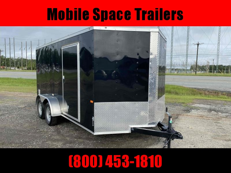 2020 Covered Wagon Trailers 7X14 7k Black Tandem Ramp Door Enclosed Cargo Trailer