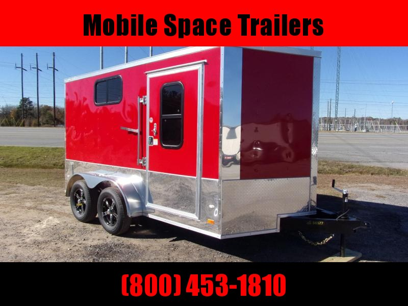 Covered Wagon Trailer 7x12 red Motorcycle PKG w Windows Enclosed Cargo Trailer