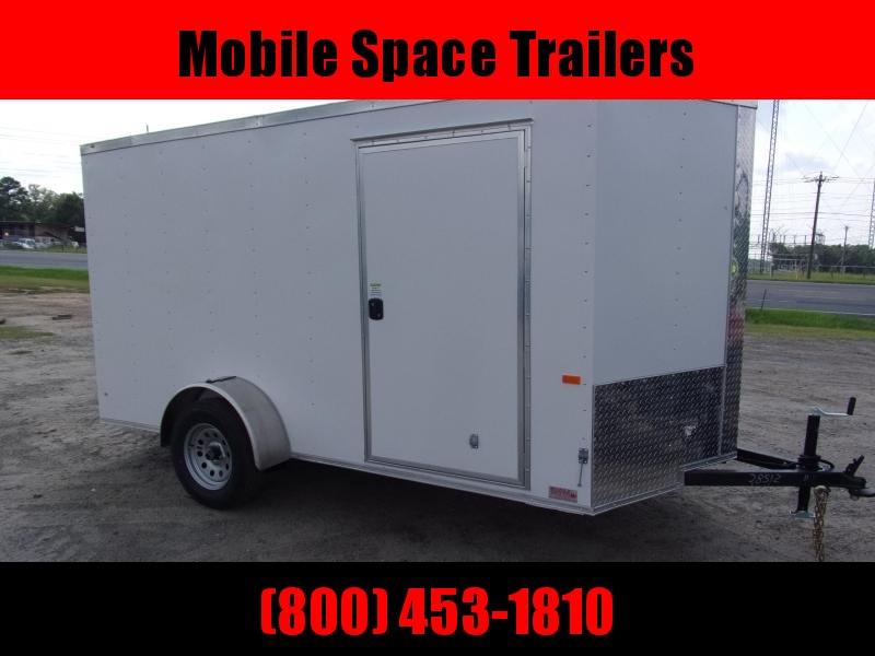 6x12 White Ramp Door Enclosed Cargo Trailer