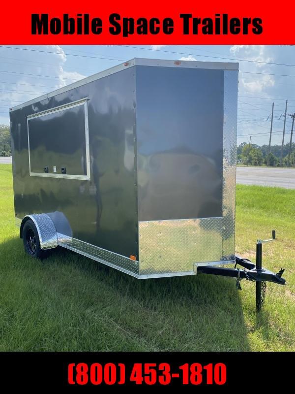 6x12 3x6 Door Charcoal Enclosed Cargo Concesion