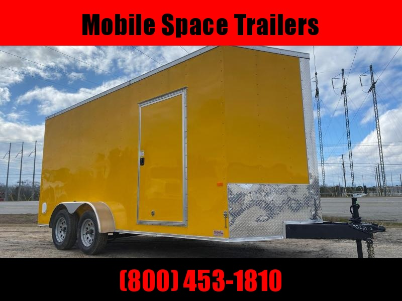 Rock Solid Cargo Trailer 7x16 Yellow .030 W Ramp Door Enclosed Cargo Trailer