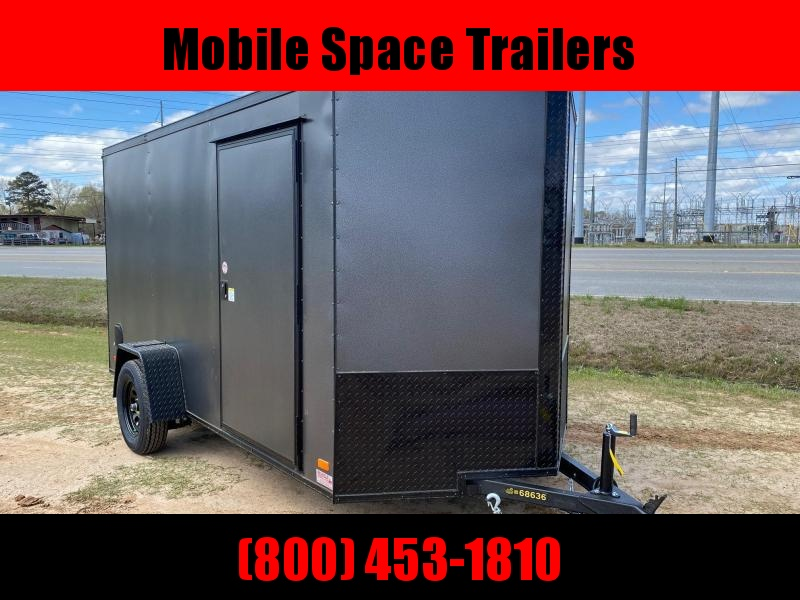 6x12 Ramp Door Cahrcoal Blackout Enclosed Cargo Trailer