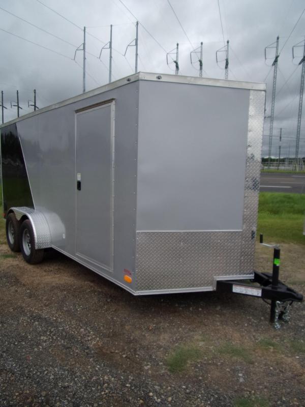 Trailer 7x16 6 3 Silver & Black Two-Tone W Ramp Door Enclosed Cargo screwlessTrailer