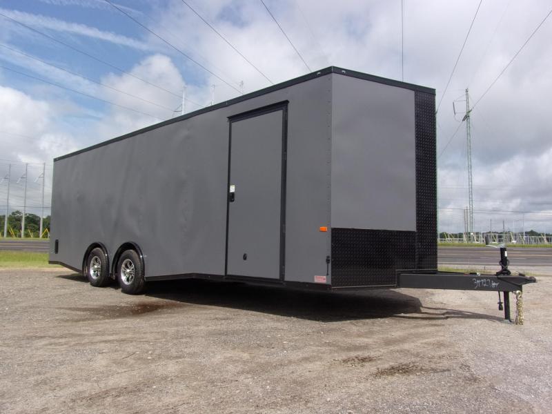 8.5x24  7' Charcoal Blackout Spread axles ramp door Enclosed Cargo