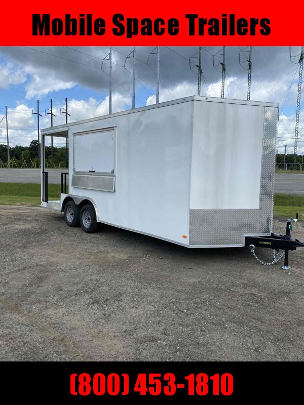2020 Covered Wagon Trailers 8.5X20 White Concession w/ 6' Porch Vending / Concession Trailer