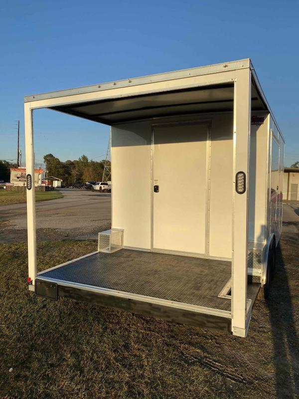 8.5X20 White 7' Interior w/ 6' Porch Vending / Concession Trailer