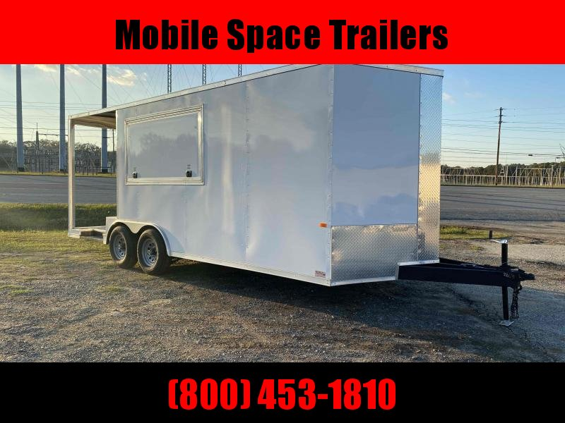 8.5X20 White 7' Interior w/ 6' Porch Vending / Concession Trailer