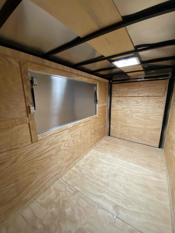 Covered Wagon 6x12 7' 3x6 Window Blue Enclosed Cargo Concesion