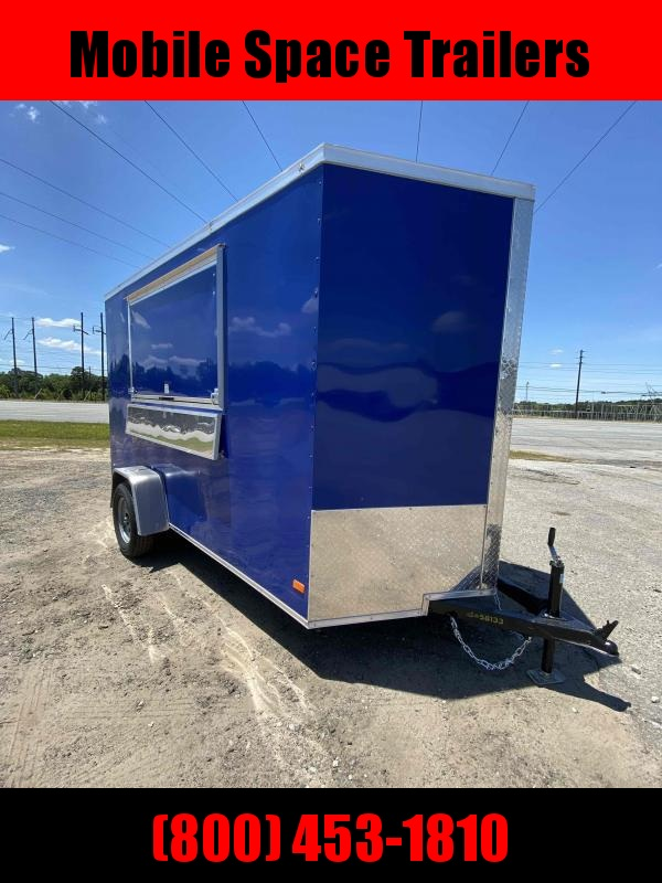 Covered Wagon 6x12 7' 3x6 Window Blue Enclosed Cargo Concesion trailer