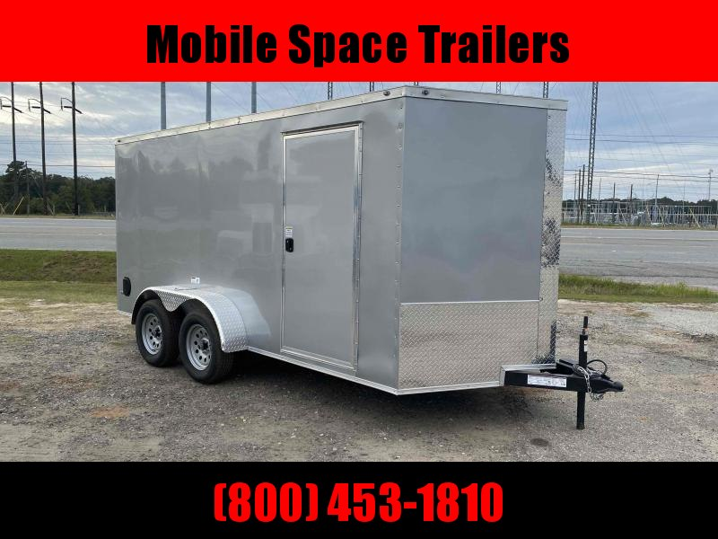 "Nationcraft 7x14 6'3"" Silver Ramp Door Enclosed Cargo ScrewlessTrailer"