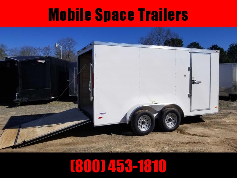 2020 Covered Wagon Trailers 7X14 7k white Tandem Ramp Door Enclosed Cargo Trailer