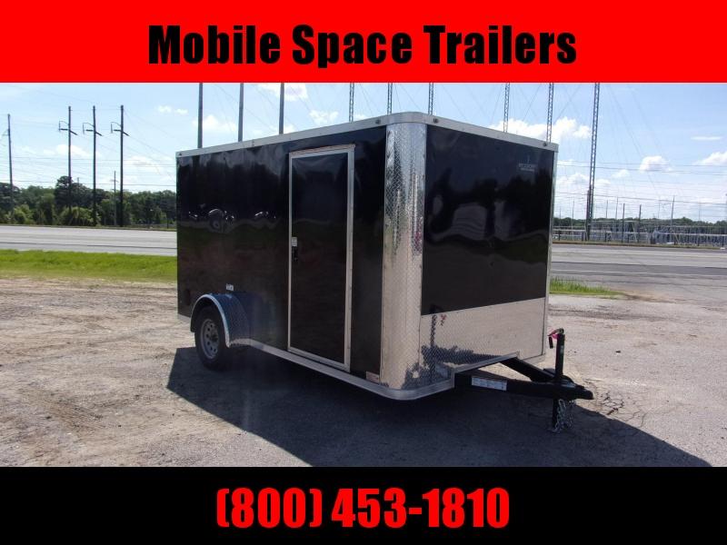 7x12 Flat Front Ramp door Black Enclosed Cargo Trailer