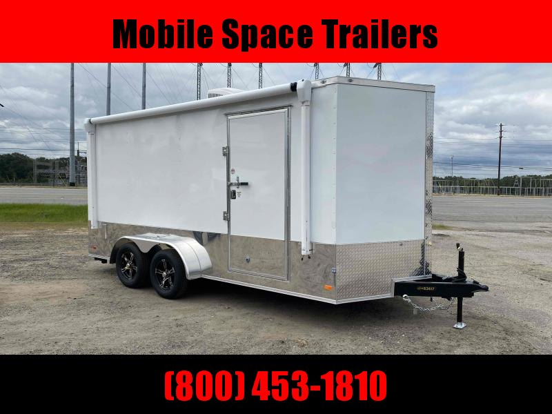 Covered Wagon Trailers 7x16 Finished AC Elec PKGramp door Enclosed Cargo Trailer