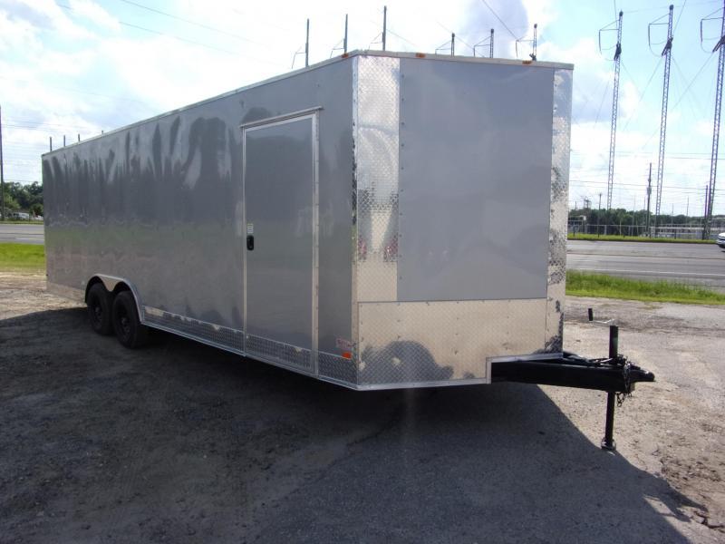 8.5X24 Silver 10K Semi-Screwless Carhauler Enclosed Cargo Trailer