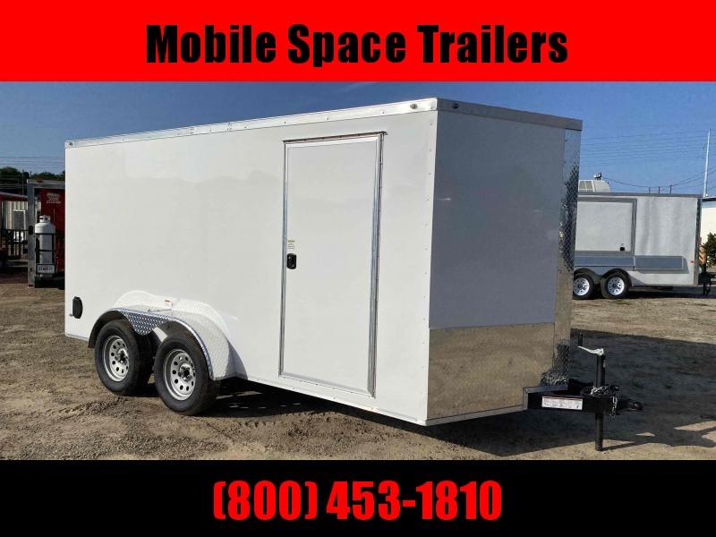"Trailer 7x14 6'3"" White W/ Ramp Door Enclosed Cargo screwlessTrailer"