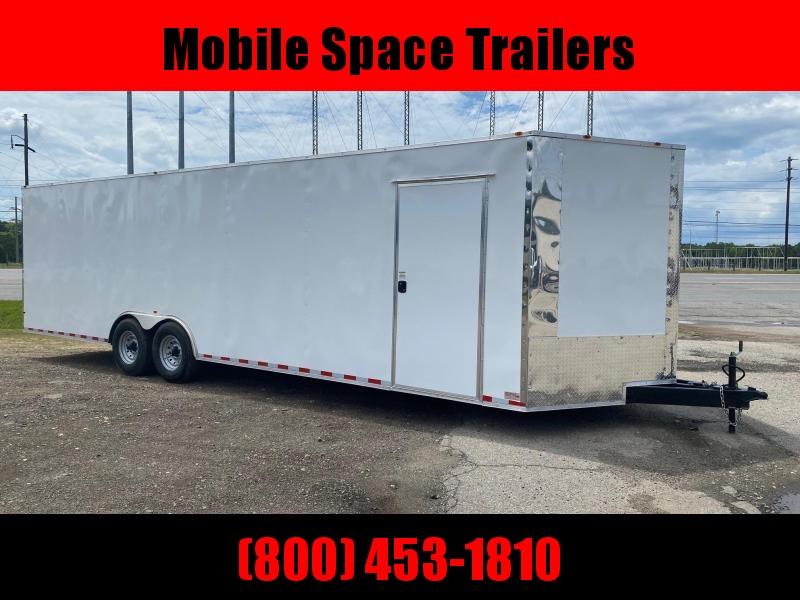 8.5x28 14k white Carhauler w/ ramp door Enclosed Cargo