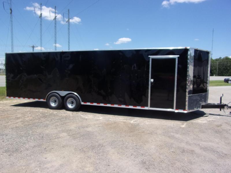 Covered Wagon Trailer 8.5x28 14k white Carhauler w/ ramp door Enclosed Cargo
