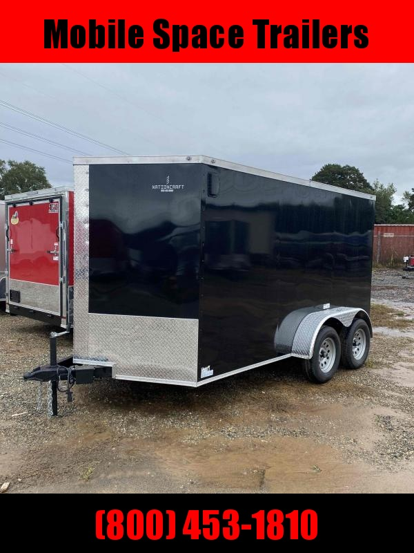 7x12 Black Enclosed cargo tailer