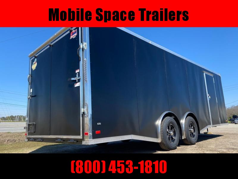 Covered Wagon Trailer 8.5x24 10k Black Carhauler w/ ramp door Enclosed Cargo