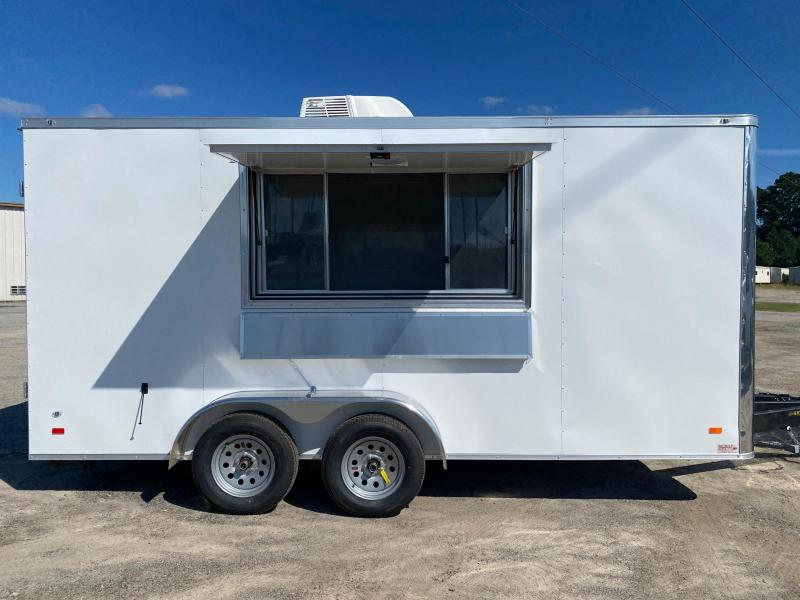 7X16 White Cabinets Finished Interior Electrical A/C Sink PKG Vending / Concession Trailer