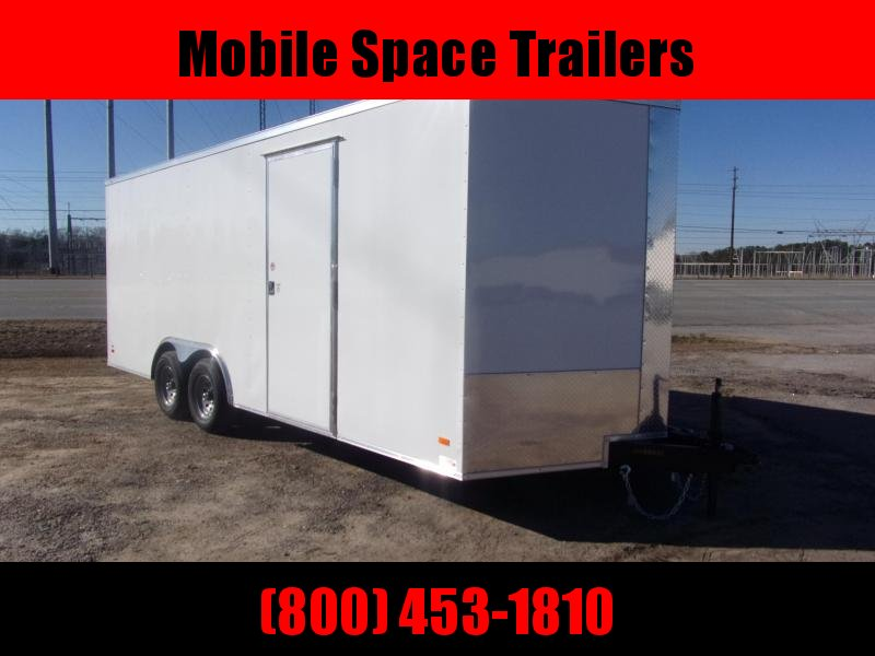 8.5X20 10k White 7' Interior Ramp Door Car Hauler