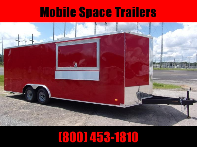 8 5X22 Red w Glass Screen Vending Concession Trailer