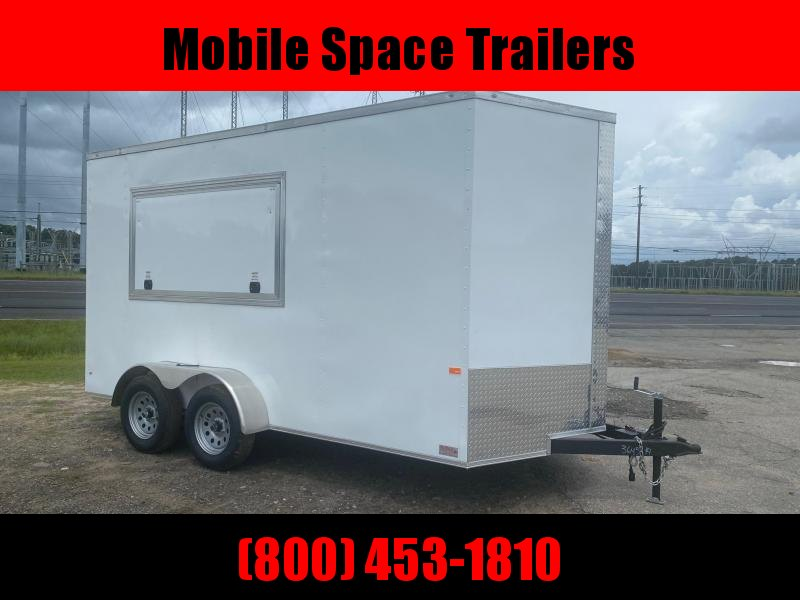 "2021 Rock Solid Cargo 7X14 White 7'6"" Interior w/ 3x6 Window Concession Vending / Concession Trailer"
