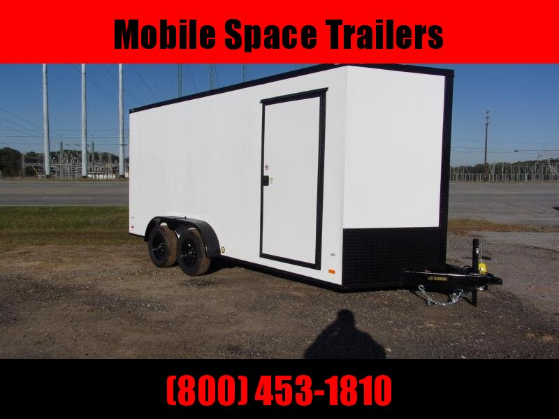 2020 Covered Wagon Trailer 7X16 White Blackout Enclosed Cargo Trailer