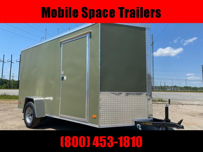 6x12 Ramp Door Olive Green Enclosed Cargo Trailer