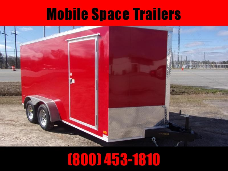 Covered Wagon Trailers 7X14 7k Red Tandem Ramp Door Enclosed Cargo Trailer