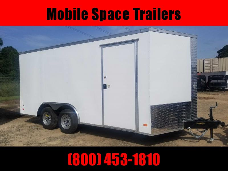 "1st Place Cargo 8.5x16 6'6"" Interior ramp door White Enclosed Cargo Trailer"
