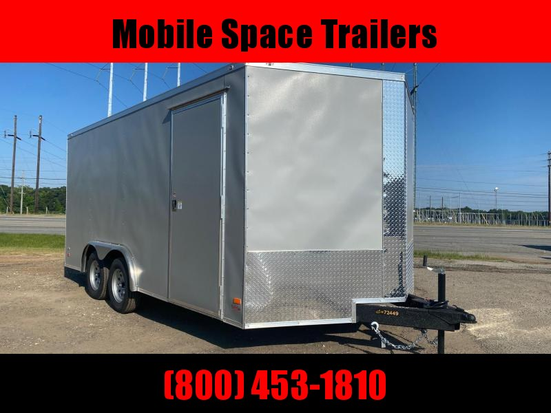 Covered Wagon Trailers 8.5x16 Silver ramp door Enclosed Cargo Trailer