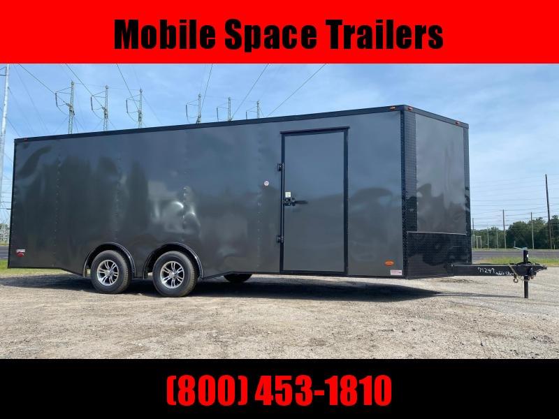 8.5x22 Charcoal Blackout Spread Axle Escape Door Ramp door Enclosed Cargo Car Hauler