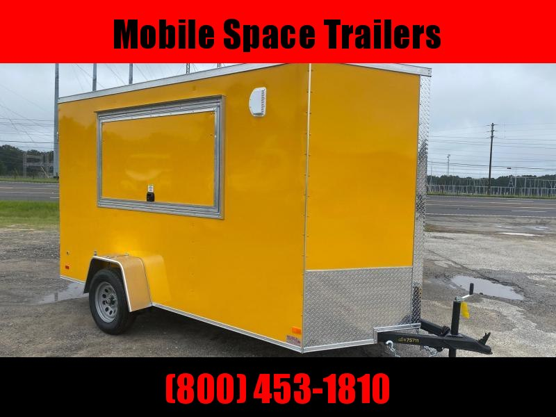 Covered Wagon Trailers 6x12 7' 3x6 Glass & Screen Window Finished Interior Yellow Enclosed Cargo Concesion