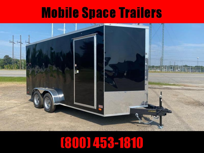 Covered Wagon Trailers 7x16 Black ramp door 7' Interior Enclosed Cargo Trailer